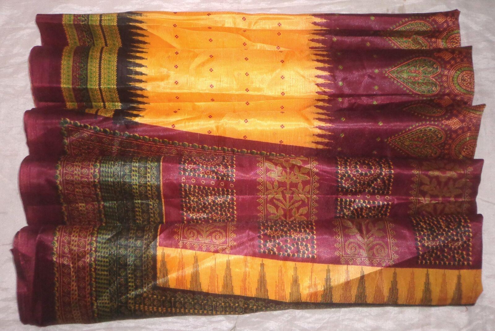 WEARABLE Vintage PAPER ART Silk BLEND CRISP Sari Saree PS2 S301 Yellow Maroon