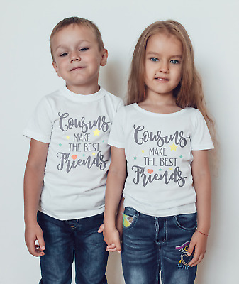 Cousins Make The Best Friends Boys Girls T-Shirt Personalised Tees Unisex Tshirt Clothing 3-4 Years White