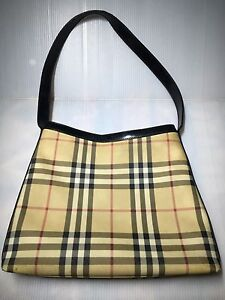 c44469a3610e Image is loading USED-Burberry-London-Nova-Check-Plaid-Hobo-Shoulder-