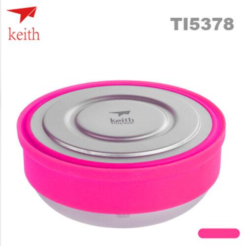 Keith Ti5378 400ml Titanium Bowl Outdoor Camping Picnic Bowl Cookware Pink