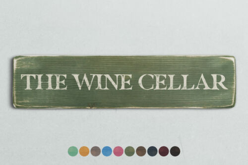 THE WINE CELLAR Vintage Style Wooden Sign Shabby Chic Retro Home Gift