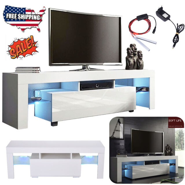 51'' TV Stand Unit Cabinet Media Storage Console Table w/LED Light Shelves White