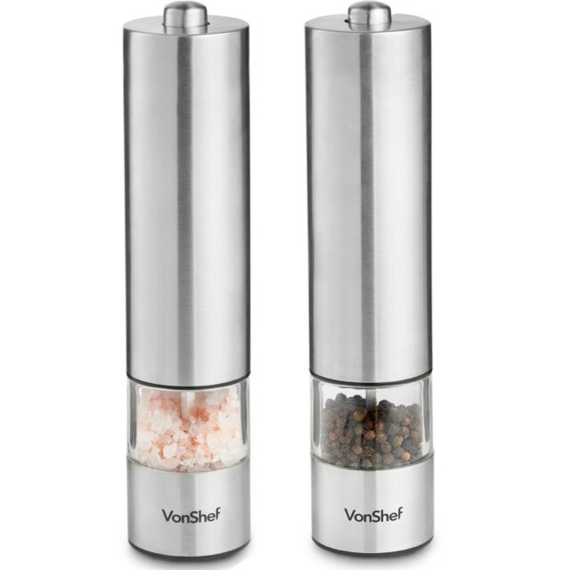 Vonshef Electric Salt Pepper Mill Set Electronic Push Button