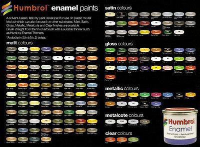 HUMBROL (14ml TIN) MATT & SATIN ENAMELS #106-245 (PART II)