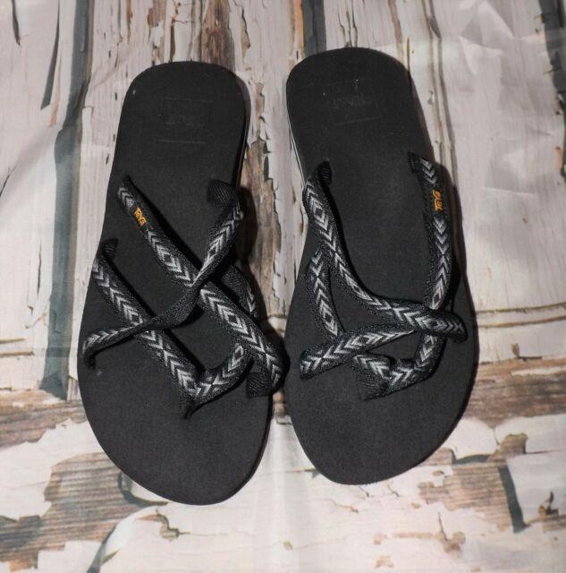 Teva 6840 Olowahu Strappy Flip Flop Slide Sandal Mush Insole Womens Size 6 Gray