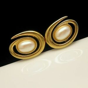 MONET-Vintage-Clip-Earrings-Large-Modernist-Atomic-Faux-Pearls-Gold-Plated