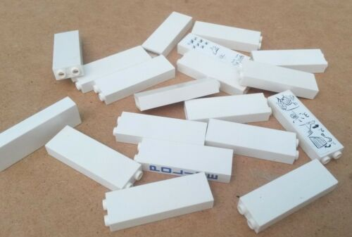 20x White Lego 1 x 2 Tall Bricks Used Condition BR132