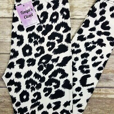 LuLaRoe Cheetah Leggings OS One Size Animal Print Leopard Brown Black Stretch
