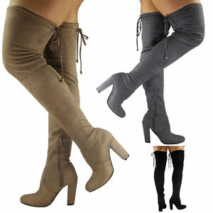 495c81765da3 womens ladies thigh high over the knee long lace up block heel boots ...