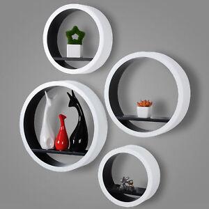 Etagere-murale-ronde-en-bois-MDF-etagere-CD-DVD-murale-Blanc-Noir-FRG9231sz