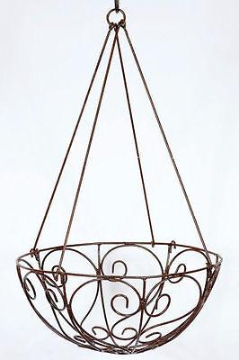 Wrought Iron Lg Curly Hanging Basket