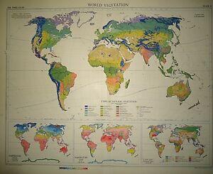 Vintage Map Of World.Vintage 1957 Map World Vegetation Land Use Temperature Large