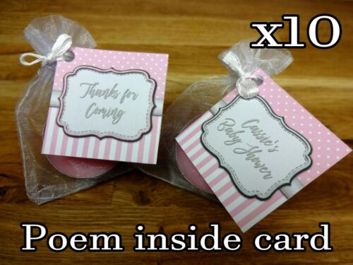 Baby shower scented candles favours tealights spots and stripes Pink girl x10