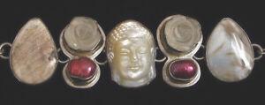Energisch Wunderschön Elligators Modernist Buddha Sterling Silber Natursteine Blüten Direktverkaufspreis