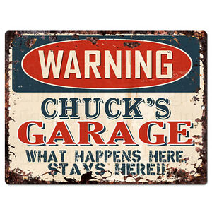 PPFG0547-WARNING-CHUCK-039-S-GARAGE-Tin-Chic-Sign-Home-man-cave-Decor-Funny-Gift