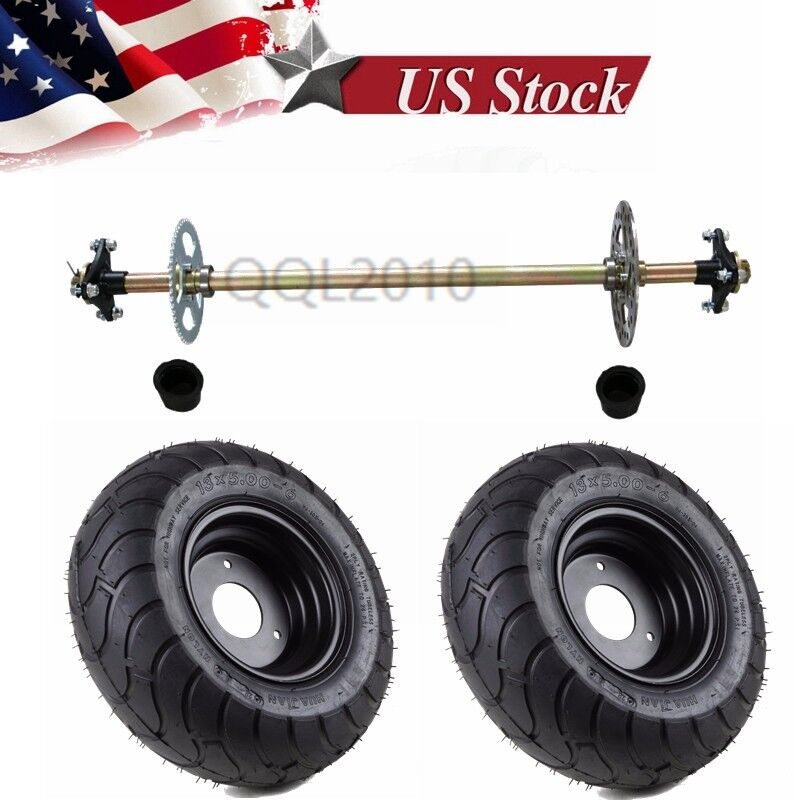 Go Kart Rear Axle  Kit Complete +Pair 13x5.00-6 Wheels Hub Cart Part Off Road ATV  70% off