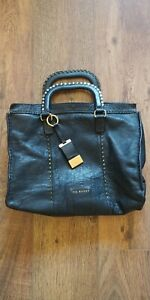 fa99876d70ef Image is loading Ted-Baker-Black-stab-stitch-studded-large-tote-