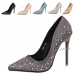 Stylish-Women-Rhinestone-Shoes-Platform-Stiletto-High-Heel-Pumps-Party-Prom