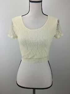 NWT-Frenchi-Crop-Top-Blouse-Floral-Lace-Short-Sleeve-Scoop-Neck-Lace-Ivory