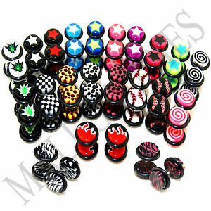 V067 Fake Cheaters Faux Illusion Ear Plugs 16G Checkered Spiral Weed Logo 0G 8mm