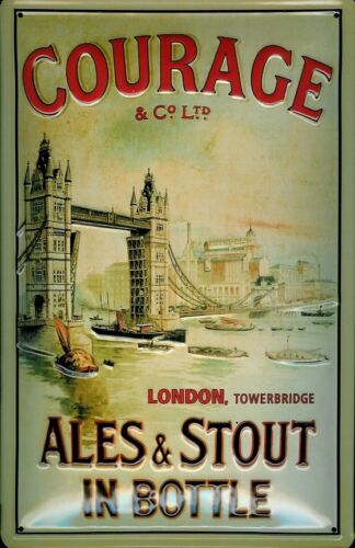 Courage /& Co Ltd Ales /& Stout London Tin Sign 3D Embossed 7 7//8x11 13//16in