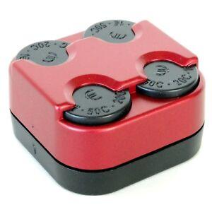 Bis 1 Euro Münzbox Münzhalter M6 Münzenspender METALL RED von HR / RICHTER