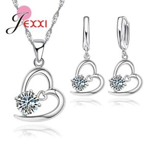 Heart-And-Crystal-Silver-Plated-Pendant-Necklace-and-Earring-Set-Velvet-Pouch-UK