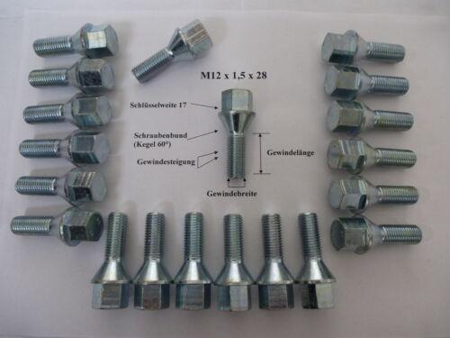 20 unidades tornillos perno de rueda m12 x 1,5 x 28 cono SW 17 Opel saab nr45