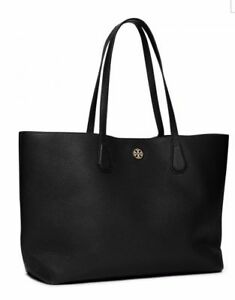 a1fc483f1e6 Tory Burch Perry Leather Tote Perforated Logo Black Good4 Work Authentc