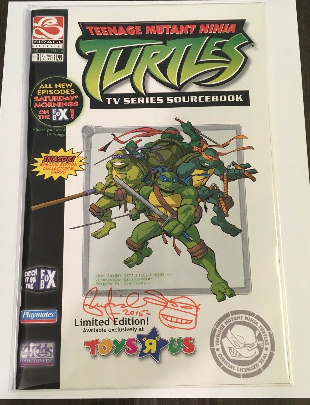 Tmnt Teenage Mutant Ninja Turtles Sourcebook Toys R Us Ex. firmado Por Peter Laird