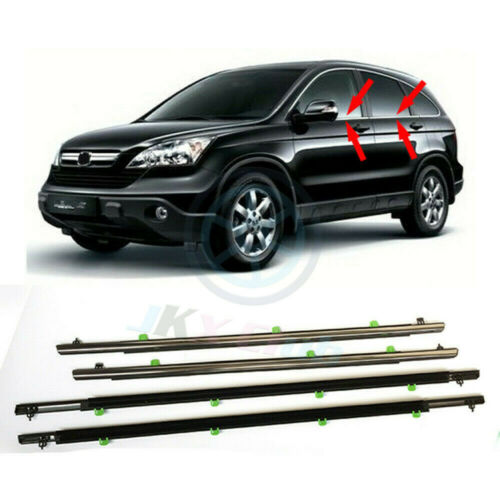4PCS Car Window Moulding Trim Weatherstrips Seal k For Honda CR-V CRV 2007-11HT