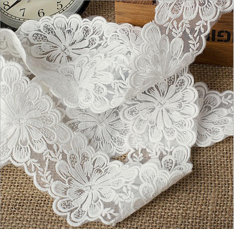 1 Yard Lace Trim Ribbon For Wedding Bridal Dress Embroidered DIY Sewing A118