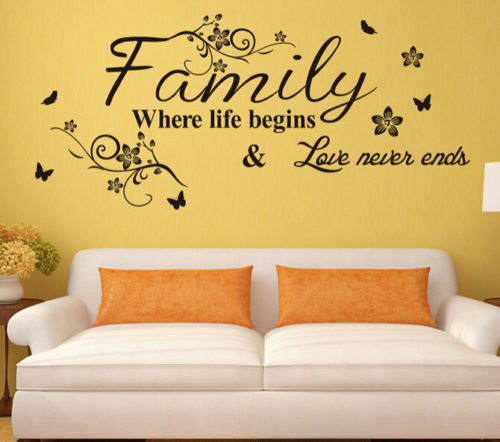 Family Wall Stickers Love Quote Home Mural Art Vinyl Room Decal Butterfly Decor