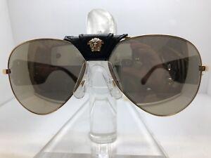 Authentic VERSACE SUNGLASSES VE2150Q 1002/5A Gold/Brown Mirror Lens