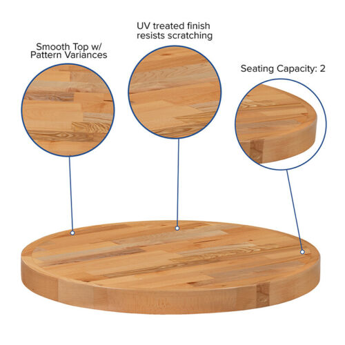 24/'/' Round Butcher Block style Restaurant Table Top in Solid Wood Natural Finish