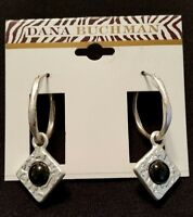 Dana Buchman Beautiful Movable Silver Tone W/faux Onyx Woman Earrings
