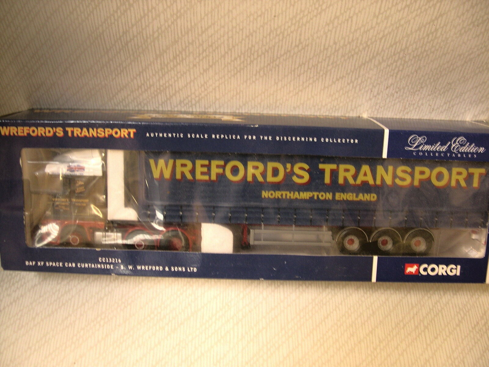 Corgi daf xf space cab curtainsider Wreford de transport REF CC13216