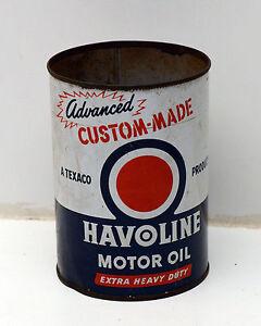 Vintage Havoline Quart Motor Oil Can Metal Ebay