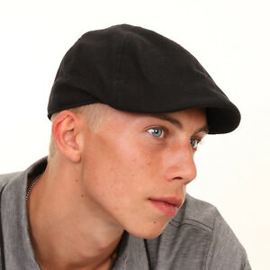 Mens-Ladies-Black-Cotton-Flat-Cap-Lightweight-Pre-Formed-Peak-Hat