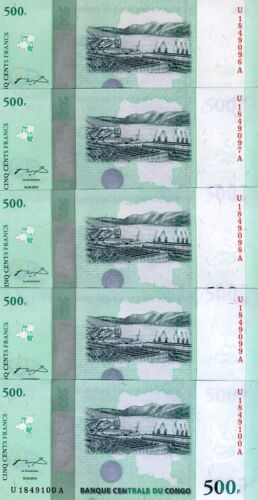2010 P-NEW LOT Congo D.R. 5 x 500 Francs UNC