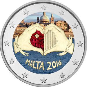 2-Euro-Gedenkmuenze-Malta-2016-Liebe-coloriert-mit-Farbe-Farbmuenze