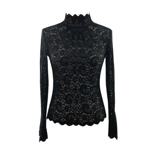 Lady Lace Floral High Neck T-shirt Tops Long Flare Sleeve Slim Casual Blouse