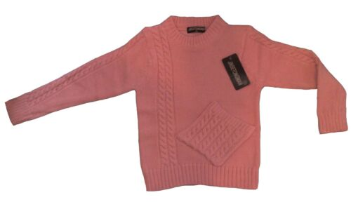 New Girls Jumper Knitted Long Sleeve Top T-shirt Sweater Black Pink 2-12years #1