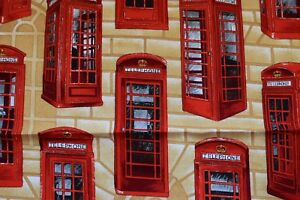 Red Telephone Box Fabric With Beige Stone Background Ebay