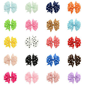 1-piece-Girls-Hair-Pin-Polka-Dot-Grosgrain-Ribbon-Fishtail-Bow-Clip-Headwear