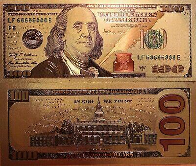 10 US $100 Banknotes USD 24k Gold Foil Paper Money Dollars-A Ten