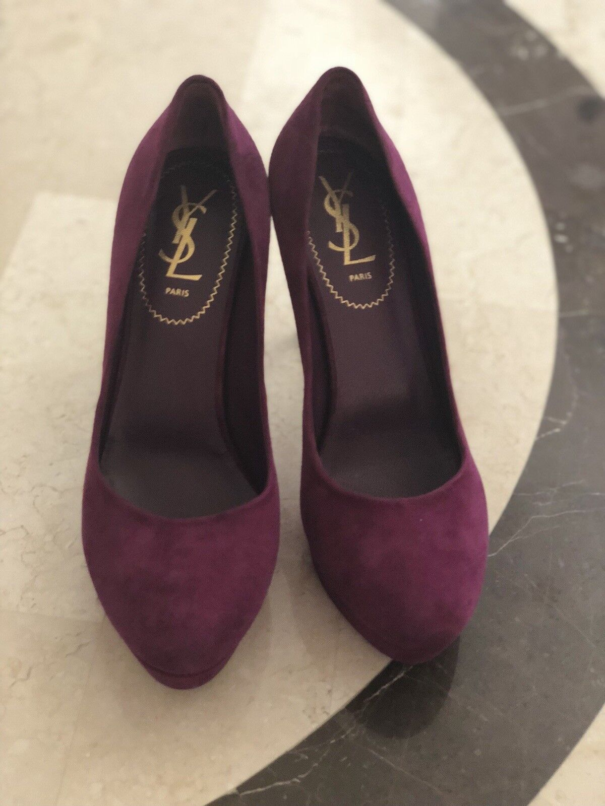 650. YSL Tribtoo purple suede pumps 38 fc15cf