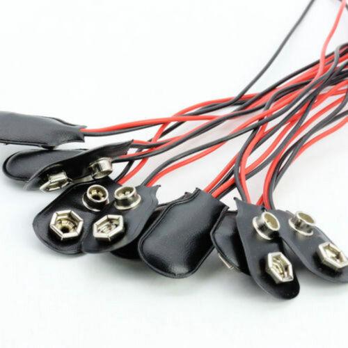 10pcs PP3 9V 9volt Batterie Holder Clip Snap On Verbinder Cable Black
