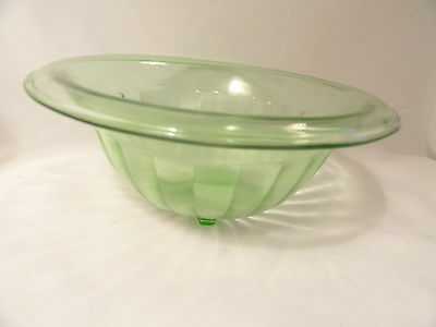Hocking Green Depression Glass Rolled Edge Panelled Mixing Bowl Kitchen