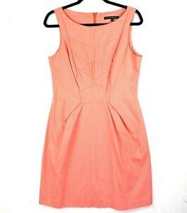 CUE In the City Women's Sz 12 Peach Apricot Sleeveless Knee Length Sheath Dress